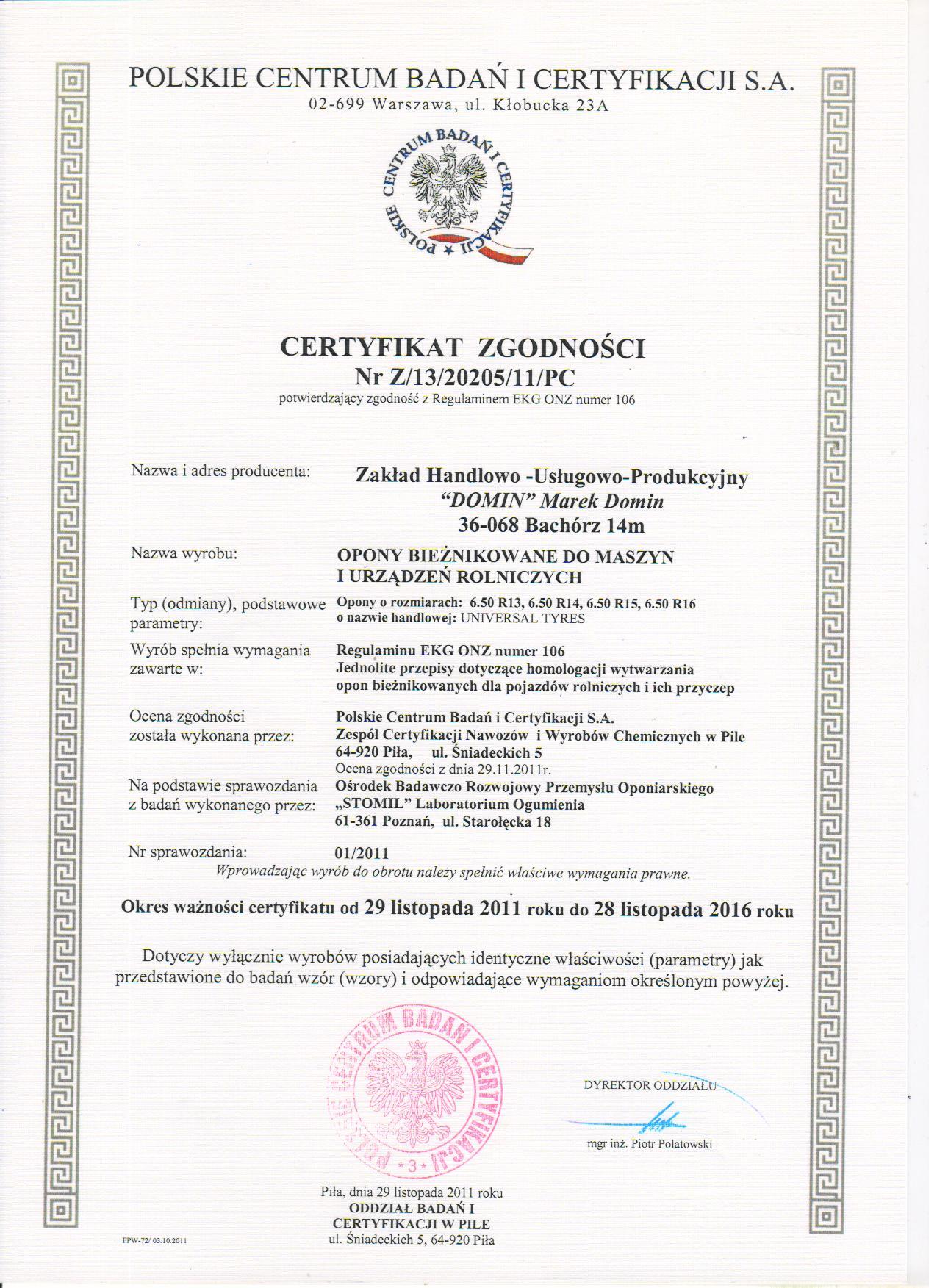 Domin Oponypl Certyfikaty